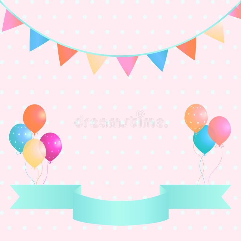 Poster with colorful balloons, pennants and ribbon on pink polka dot background. royalty free illustration