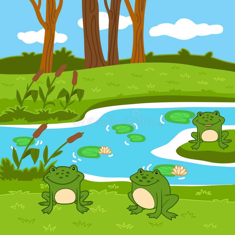Free Vector Illustration (summer Pond In The Woods) Royalty Free Stock Image - 48485826