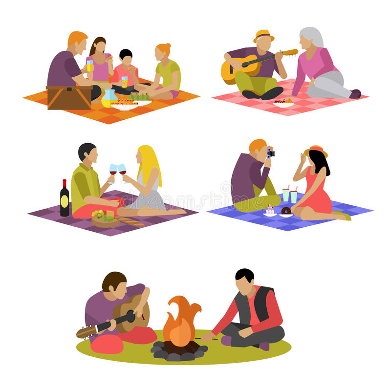 Vector illustration of summer recreation. Family picnic and camping in a park flat icons. Vector illustration of summer recreation concept design elements vector illustration