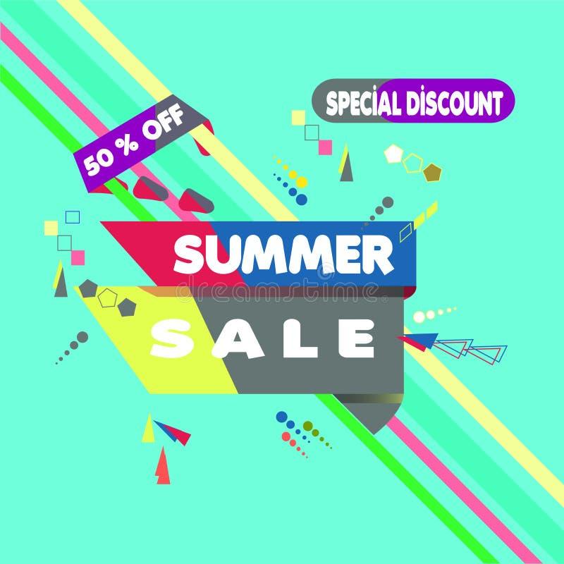 Vector illustration. Summer Sale Banner Design Template. Special Discount 50% OFF royalty free illustration