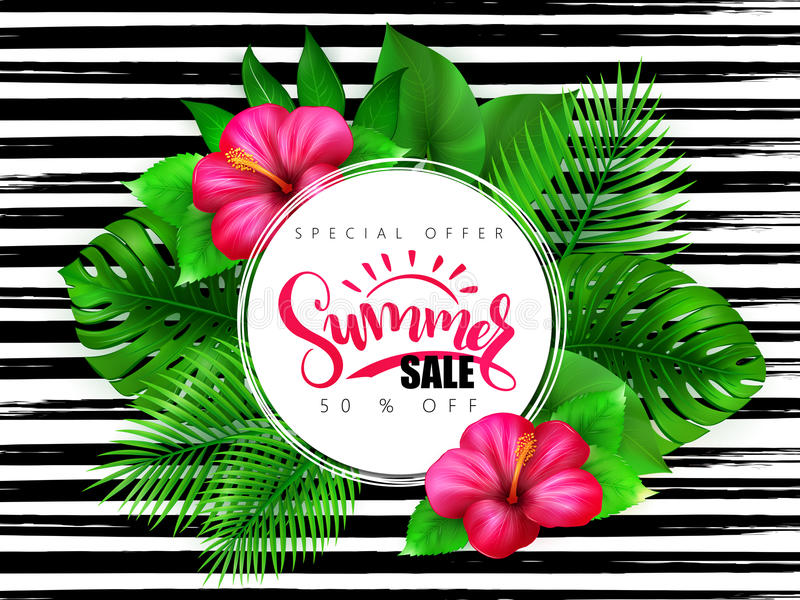 Vector illustration of summer sale banner with hand lettering text surrounded with hibiscus flower and tropical leaves - stock illustration
