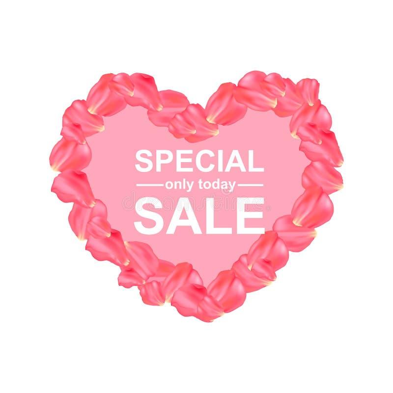 Summer sale poster with petal rose design. royalty free illustration