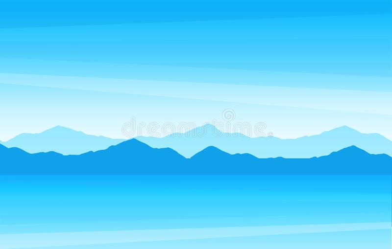 Vector illustration with summer seascape. Scenic ocean view with mountain at sunny day for a travel company. stock illustration