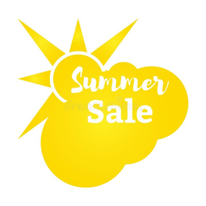 Vector illustration. Sun and cloud Summer discounts. Flat style vector illustration