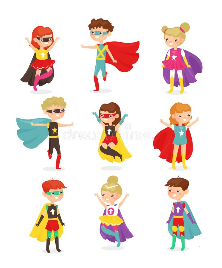 Vector illustration of super hero children. Kids in superhero costumes, super powers, kids dressed in masks. Collection. Of happy smiling kids characters stock illustration