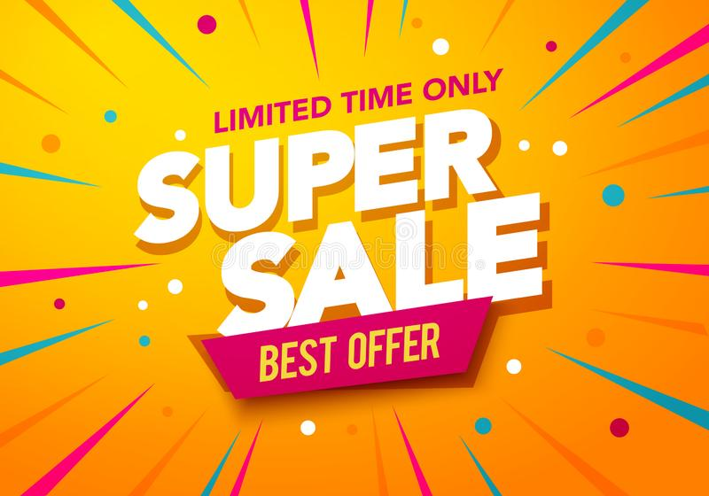 Vector illustration super sale banner template design, Big sales special offer. end of season party background vector illustration