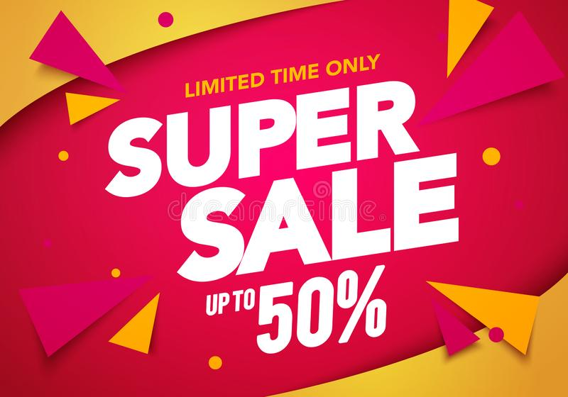 Vector illustration super sale banner template design, Big sales special offer. end of season party background royalty free illustration