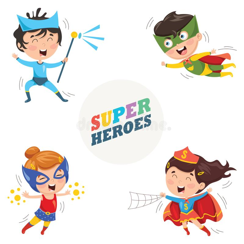 Vector Illustration Of Superheroes. Eps 10 stock illustration
