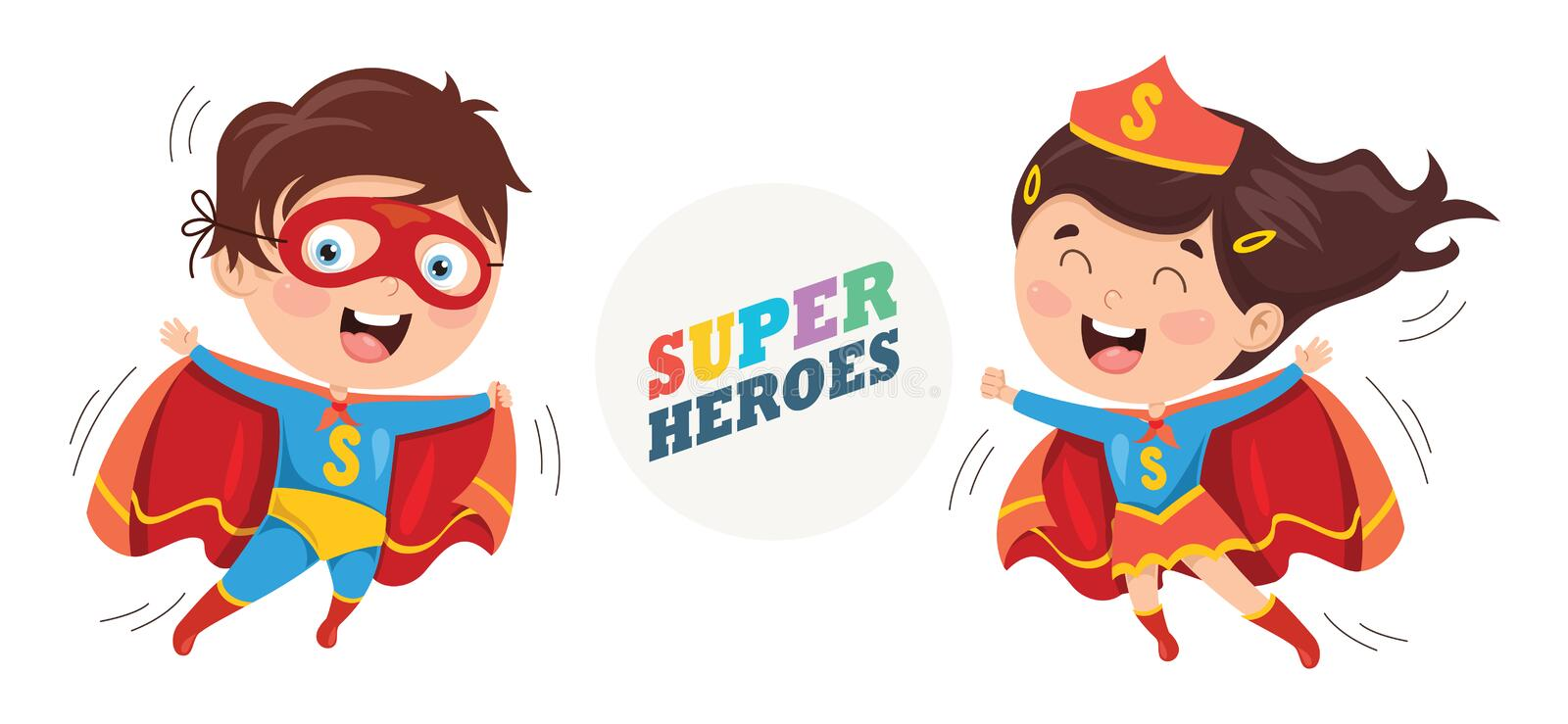 Vector Illustration Of Superheroes. Eps 10 royalty free illustration
