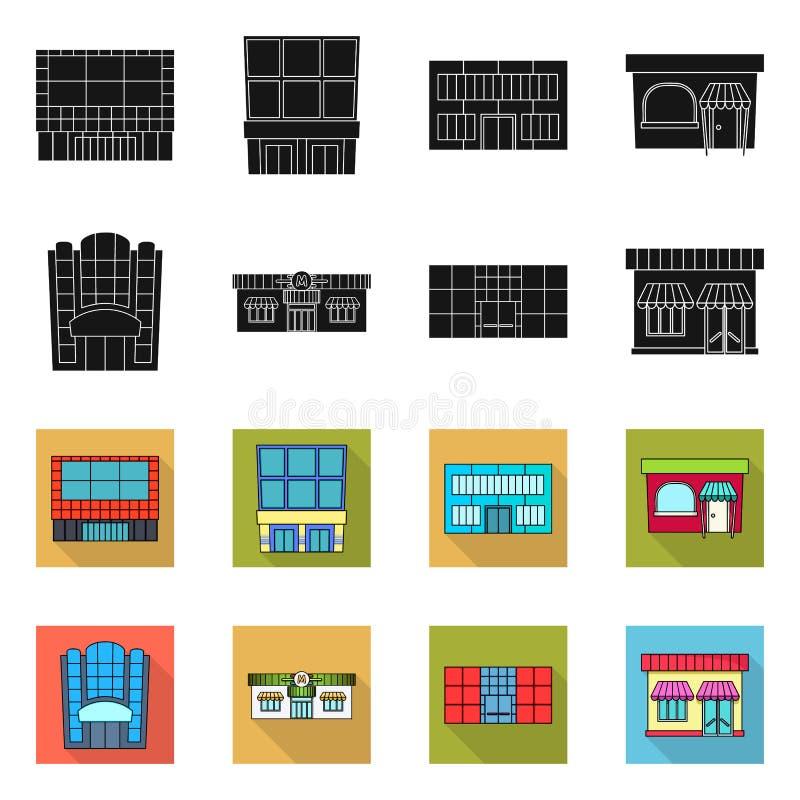 Vector design of supermarket and building logo. Collection of supermarket and local vector icon for stock. Vector illustration of supermarket and building icon royalty free illustration