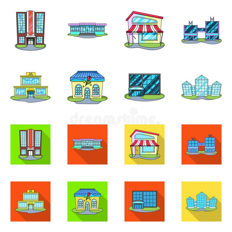 Vector design of supermarket and building symbol. Collection of supermarket and local stock symbol for web. Vector illustration of supermarket and building sign stock illustration
