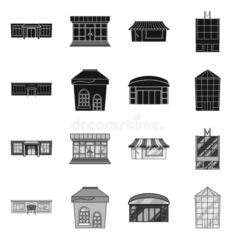 Vector design of supermarket and building icon. Collection of supermarket and local stock vector illustration. Vector illustration of supermarket and building royalty free illustration