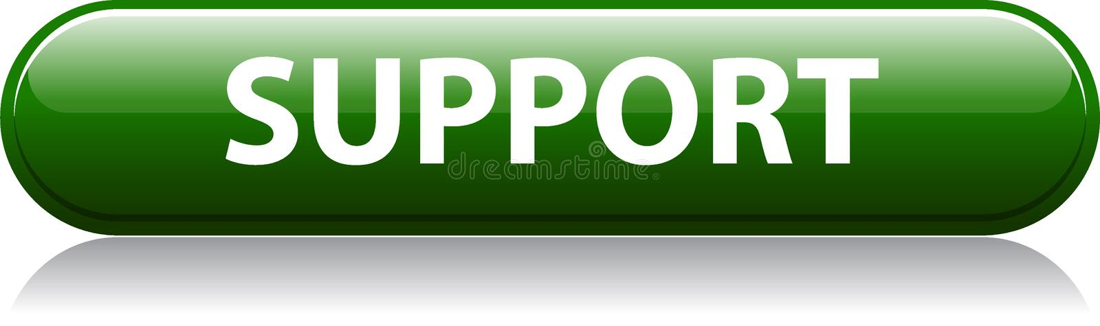 Support us green button. Vector illustration of support us web button with reflection shadow on white background vector illustration