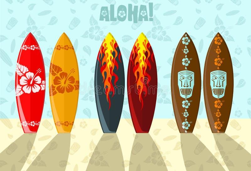 Vector illustration of surf boards royalty free illustration
