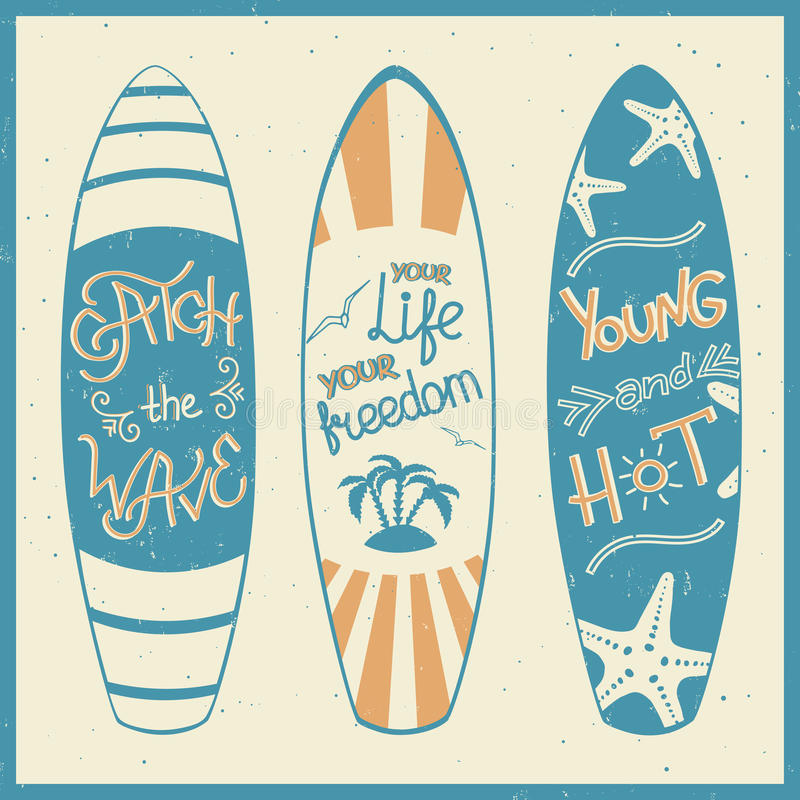 Vector illustration of surfing boards with lettering. royalty free illustration