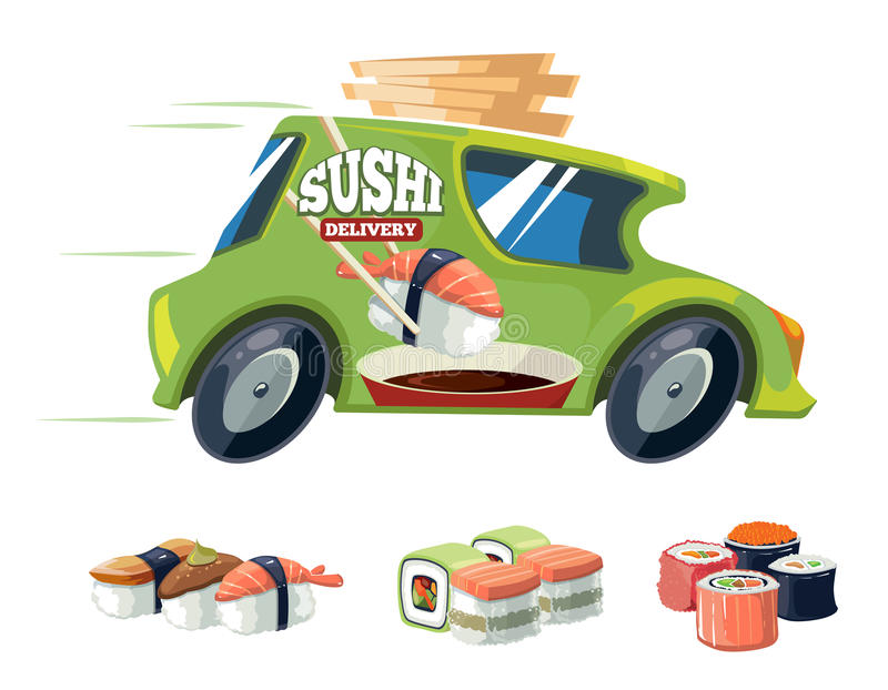 Vector illustration of sushi delivery green car. Isolate on white background. Cartoon design for web, site, advertising, banner, poster, board and print royalty free illustration
