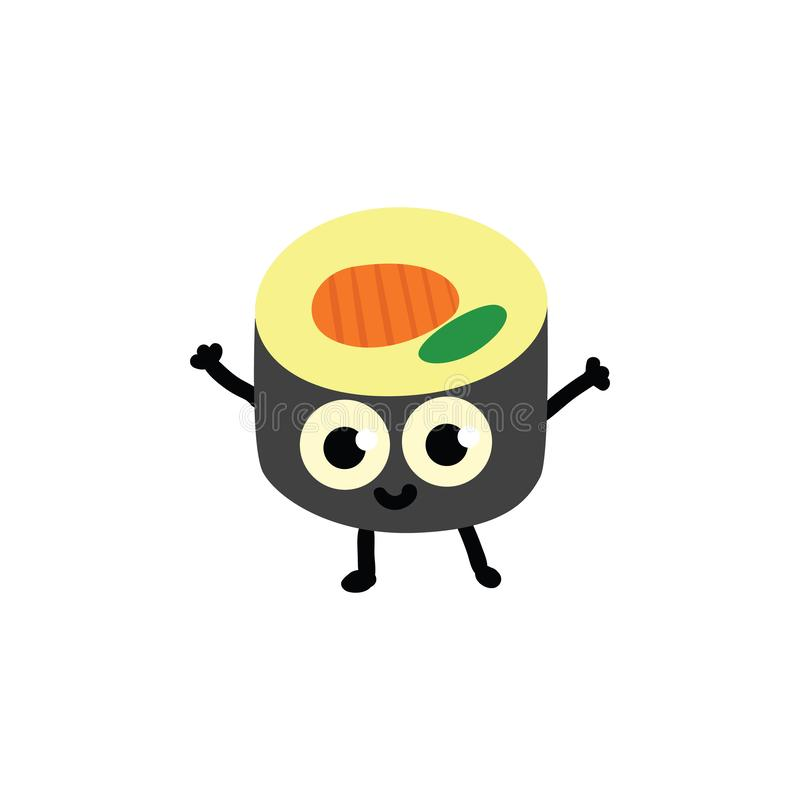 Vector illustration of sushi roll cartoon character in flat style. vector illustration