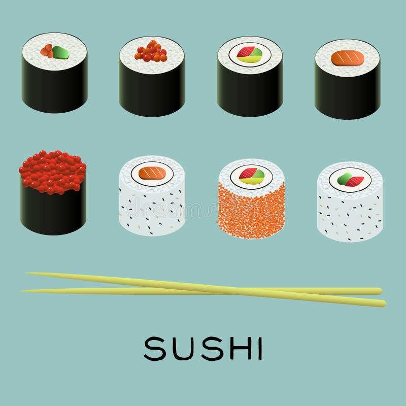 Vector illustration of sushi set. Vector colorful illustration of sushi set vector illustration