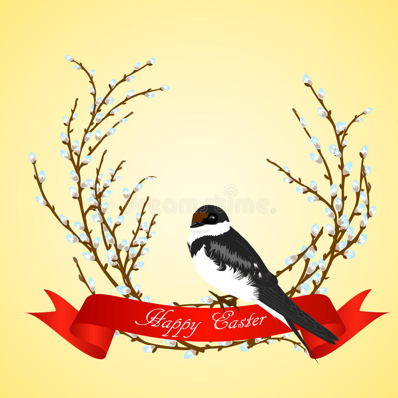 Vector illustration of swallow on willow tree. Beautiful illustration of swallow on willow tree. Willow branches, red bow and swallow bird can be used as Easter royalty free illustration