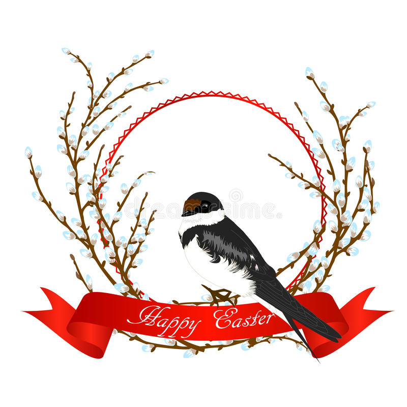 Vector illustration of swallow on willow tree and red ribbon. stock illustration