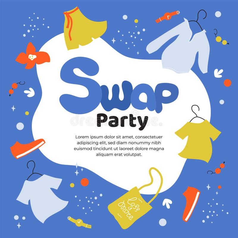 Swap party template. Eco friendly party. Vector illustration about swap party, event of exchange old wardrobe for new. Eco friendly party, exchange clothes stock illustration