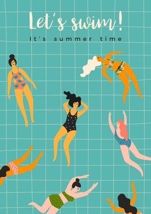 Vector illustration of swimming women. Design element stock illustration