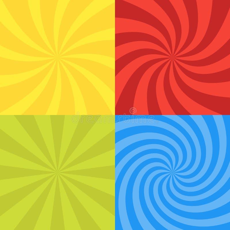 Vector illustration for swirl design. Swirling radial pattern background set. Vortex starburst spiral twirl square. Helix rotation royalty free illustration
