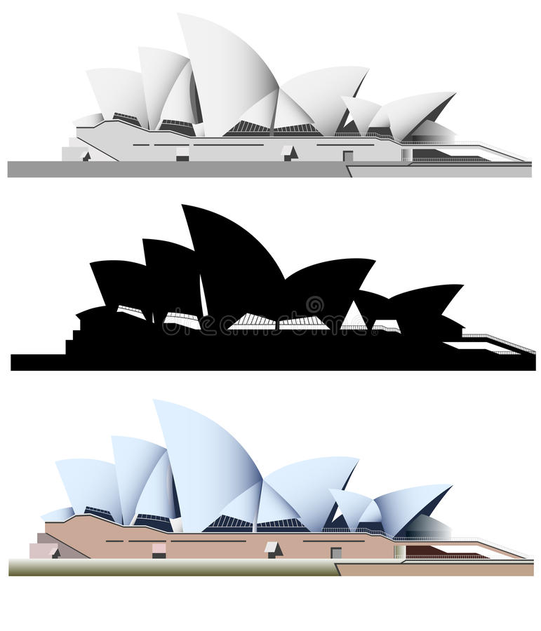 Vector illustration of the Sydney landmarks. On white background royalty free illustration