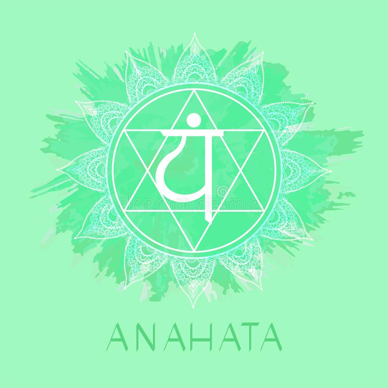 Vector illustration with symbol Anahata - Heart chakra on watercolor background. Circle mandala pattern and hand drawn lettering. Colored royalty free illustration