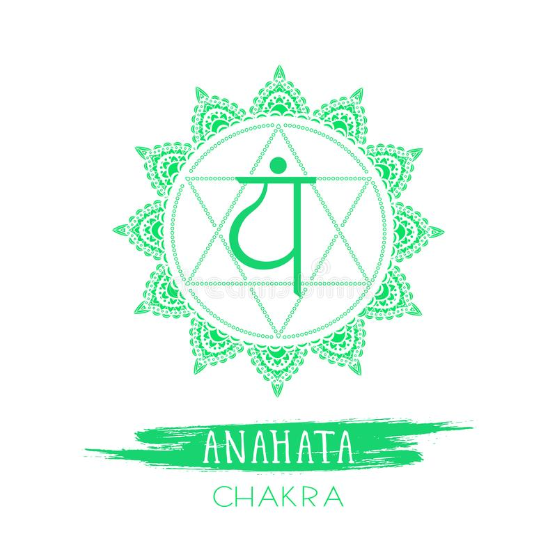 Vector illustration with symbol Anahata - Heart chakra and watercolor element on white background royalty free illustration