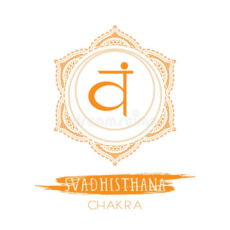 Vector illustration with symbol chakra Svadhishana and watercolor element on white background stock illustration