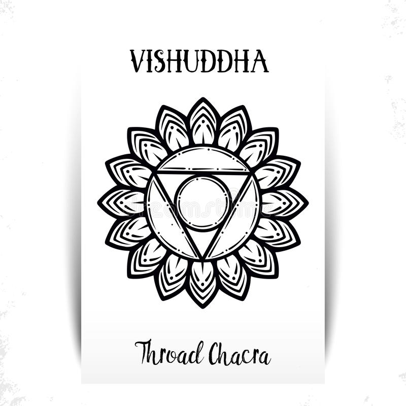 Vector illustration with symbol chakra Vishuddha and watercolor element on white background. Circle mandala pattern and hand drawn royalty free illustration