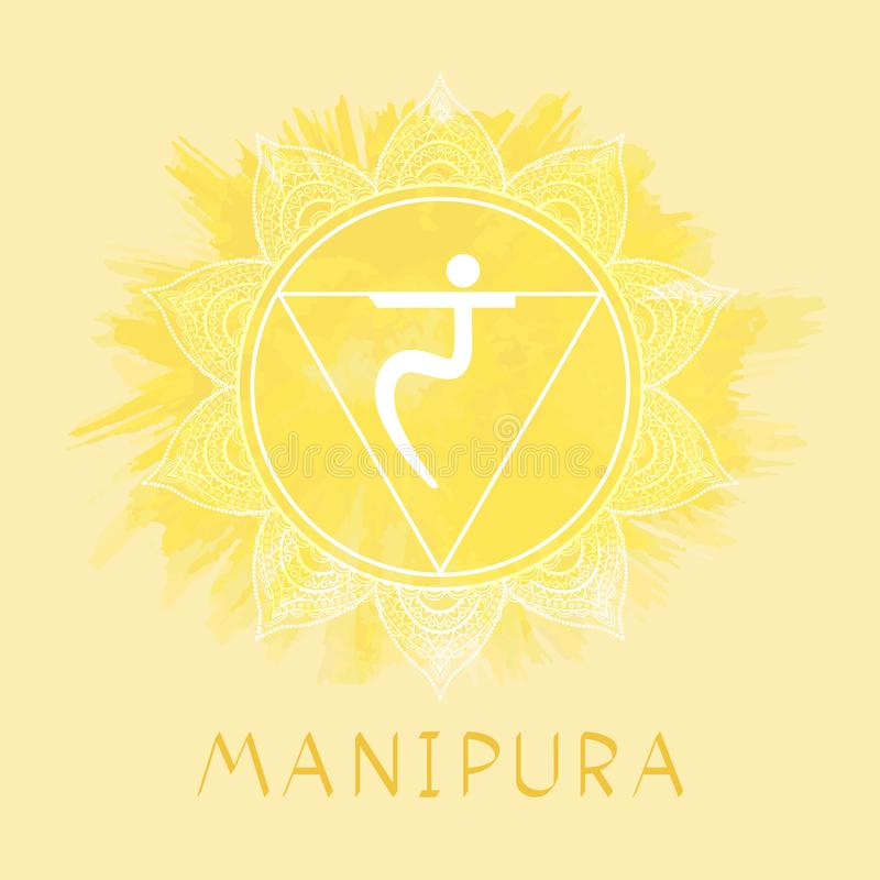 Vector illustration with symbol Manipura - Solar Plexus chakra on watercolor background. Circle mandala pattern and hand drawn lettering. Colored royalty free illustration