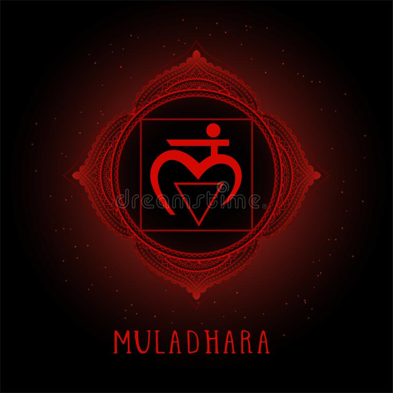 Vector illustration with symbol Muladhara - Root chakra on black background royalty free illustration