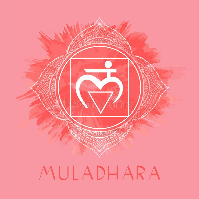 Vector illustration with symbol Muladhara - Root chakra on watercolor background. Circle mandala pattern and hand drawn lettering. Multicolor royalty free illustration