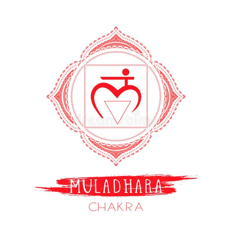 Vector illustration with symbol Muladhara - Root chakra and watercolor element on white background vector illustration