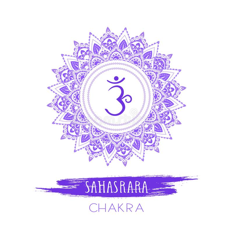 Vector illustration with symbol Sahasrara - Crown chakra and watercolor element on white background royalty free illustration