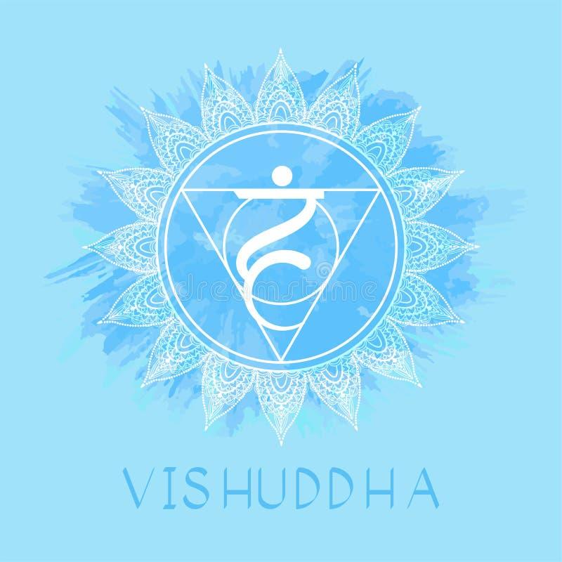 Vector illustration with symbol Vishuddha - Throat chakra on watercolor background. Circle mandala pattern and hand drawn lettering. Coloredr stock illustration
