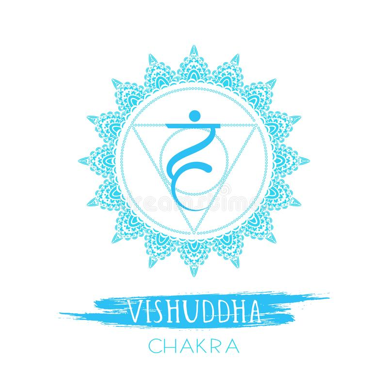Vector illustration with symbol Vishuddha - Throat chakra and watercolor element on white background vector illustration