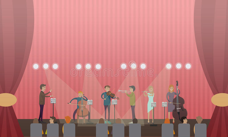 Vector illustration of symphony orchestra and audience. Vector illustration of symphony orchestra playing music on stage of concert hall. Conductor, violinist royalty free illustration
