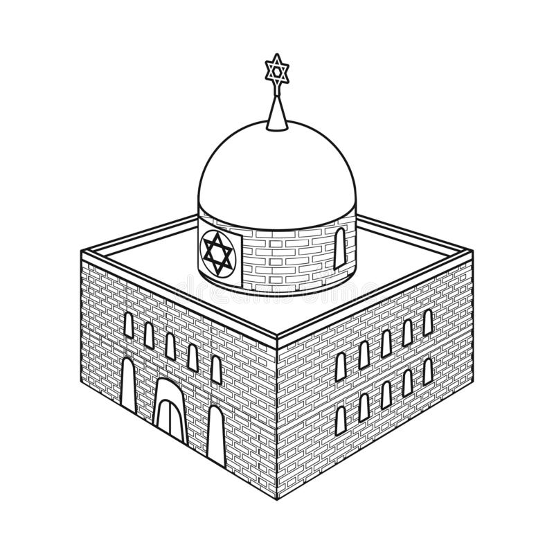 Vector design of synagogue and judaism sign. Collection of synagogue and jewish stock symbol for web. Vector illustration of synagogue and judaism logo. Set of royalty free illustration