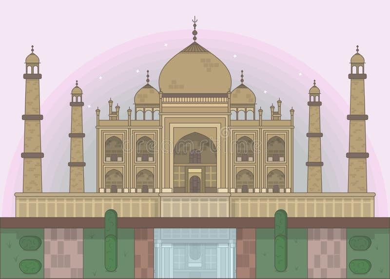 Vector illustration of taj mahal and garden vector illustration