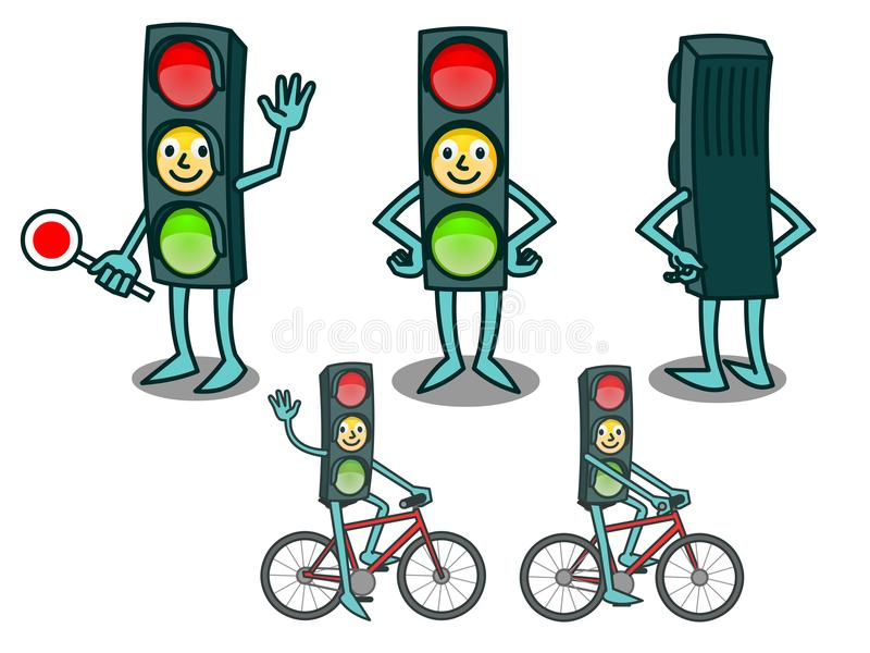 Cartoon traffic light with smiling face stock illustration