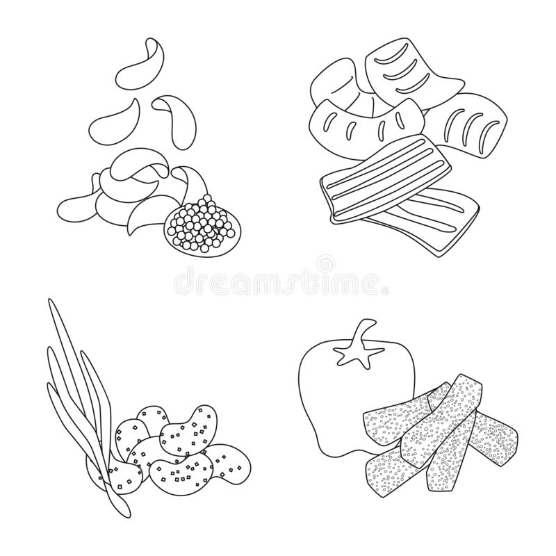 Vector illustration of taste and crunchy icon. Collection of taste and cooking vector icon for stock. Isolated object of taste and crunchy symbol. Set of taste vector illustration