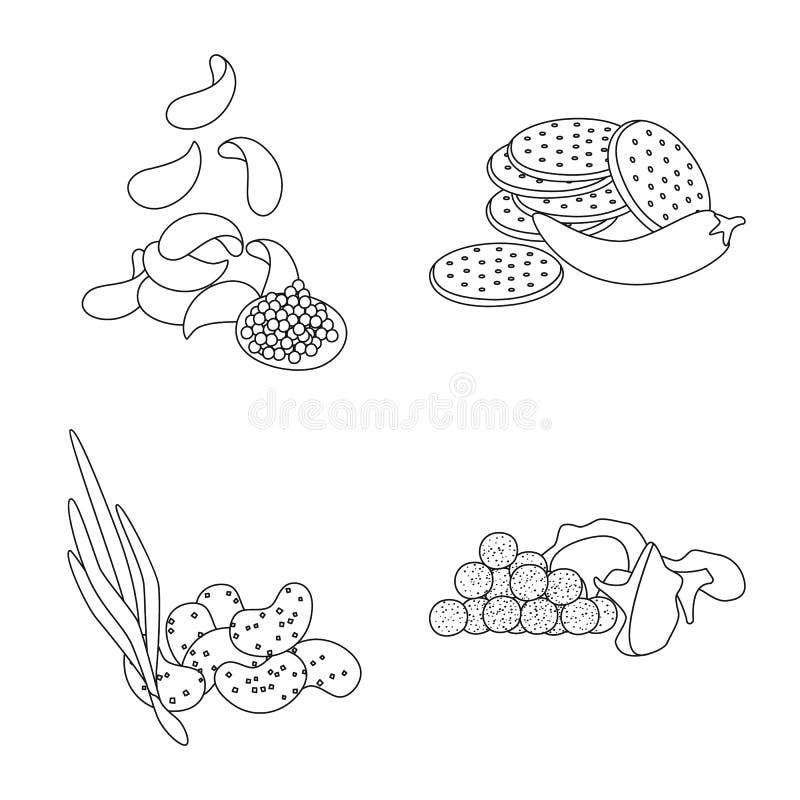 Vector illustration of taste and crunchy logo. Collection of taste and cooking vector icon for stock. Isolated object of taste and crunchy icon. Set of taste royalty free illustration