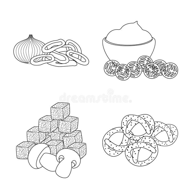 Vector illustration of taste and crunchy logo. Collection of taste and cooking stock vector illustration. Isolated object of taste and crunchy icon. Set of royalty free illustration