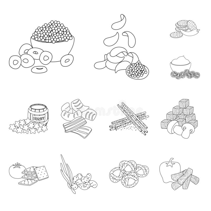 Vector illustration of taste and crunchy logo. Set of taste and cooking stock symbol for web. Isolated object of taste and crunchy icon. Collection of taste and vector illustration