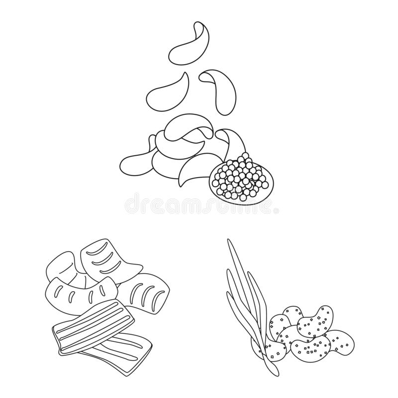 Vector illustration of taste and crunchy logo. Set of taste and cooking stock symbol for web. Isolated object of taste and crunchy icon. Collection of taste and royalty free illustration