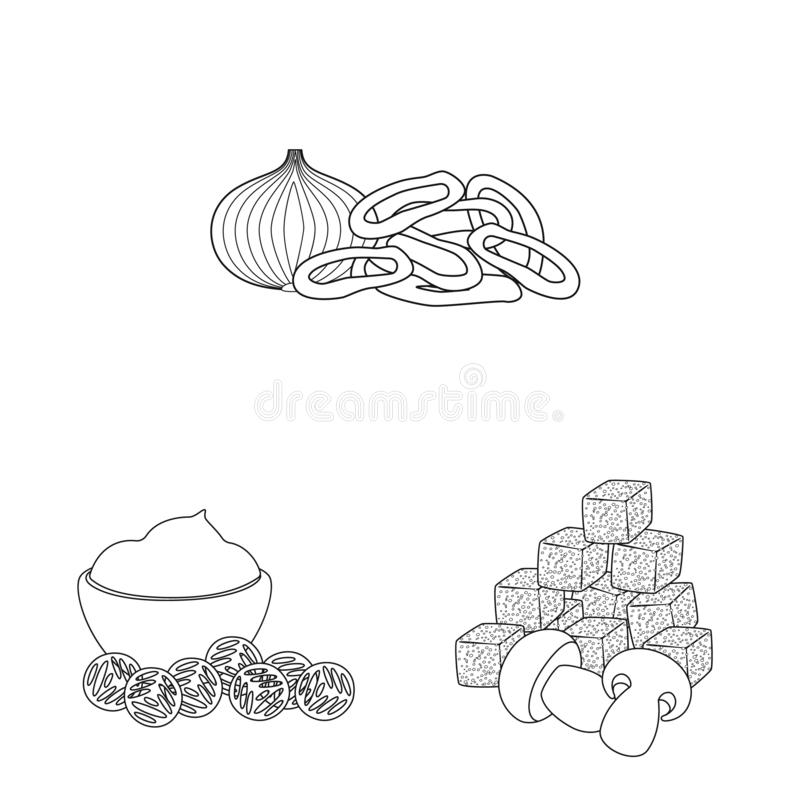 Vector design of taste and crunchy sign. Collection of taste and cooking stock symbol for web. Vector illustration of taste and crunchy logo. Set of taste and royalty free illustration