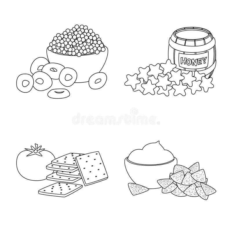 Vector illustration of taste and crunchy sign. Collection of taste and cooking stock vector illustration. Isolated object of taste and crunchy logo. Set of royalty free illustration